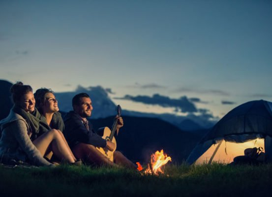 camping trip with people around a fire