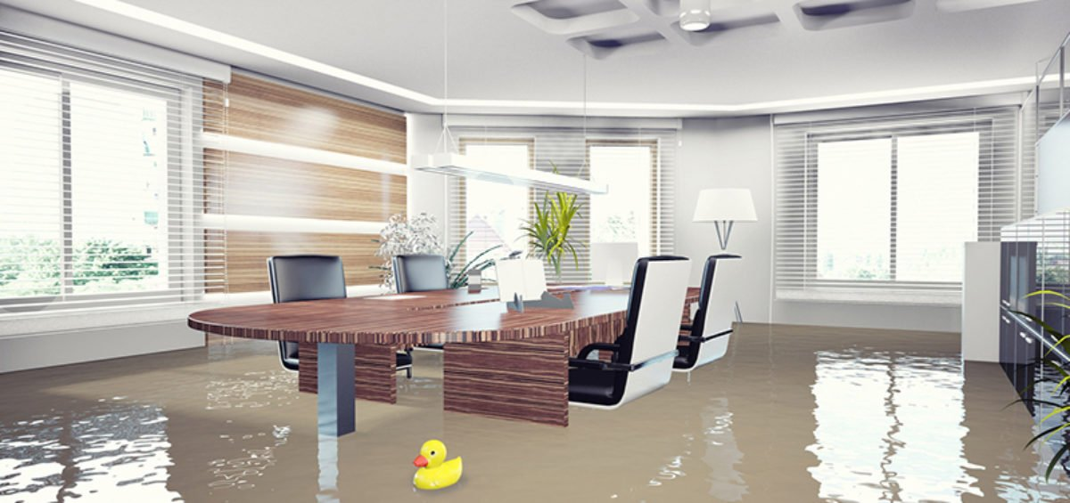 a business flooded
