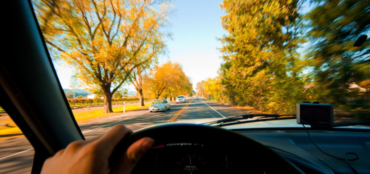 driving on fall roads